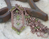 Woven Copper Gothic Pendant on Peridot beaded chain