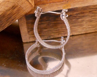 Sterling Silver Wire Woven Hoops