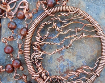 Copper Tree of Life with Red Tigers Eye Necklace