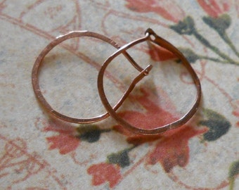 Small Hand Forged Copper Hoops