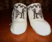 Wool Felted Baby Booties with Aztec Design 12 Months