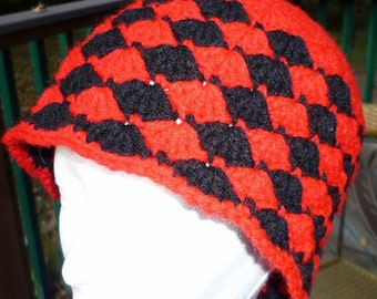 Red and Black Crocheted Cloche Hat Cap