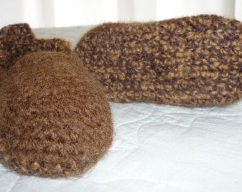 Brown Wool Felted Baby Slip ons Size 12 to 18 Months