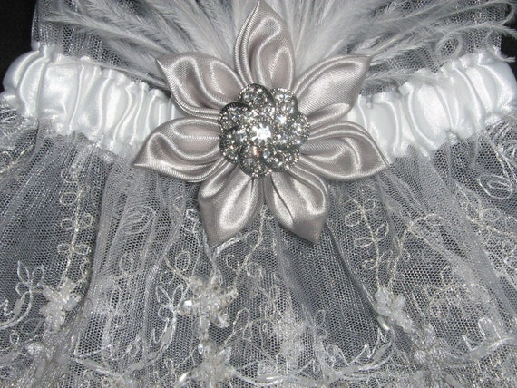Bridal Wedding Garter Set in White & Silver with Sequined Mesh Bridal Lace, Kanzashi Flower, Feathers, Rhinestone--Posh Destination Bride