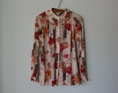 Floral Blouse ... 1970's Poppy Blossom Print ... Medium / Large