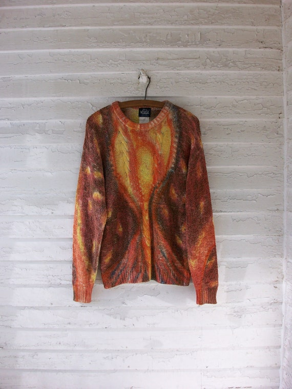 RESERVED ... 90's Tie-Dye Silk Sweater ... Handmade Grunge Deadhead Hippie ... Medium / Large