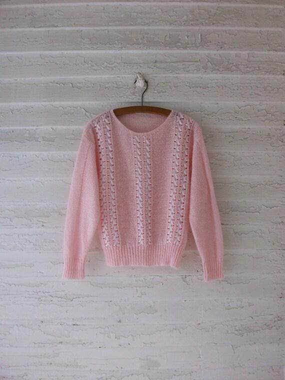 Pink Ribbon Sweater ... Pale Bubblegum 1980's Princess ... Medium / Large