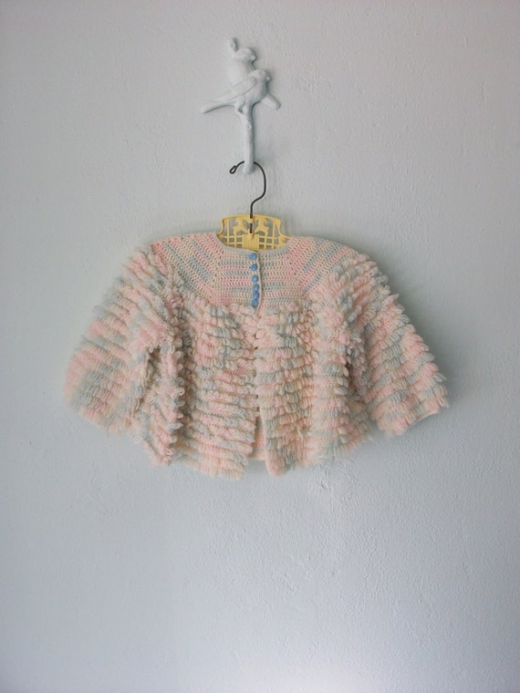 Vintage Shaggy Sweater ... Handmade Cardigan Top ... 9 12 months