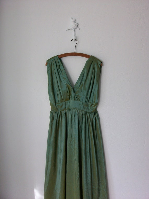 Vintage Maxi Dress ... Grecian Gown Iridescent Green Blue Organza ... Medium