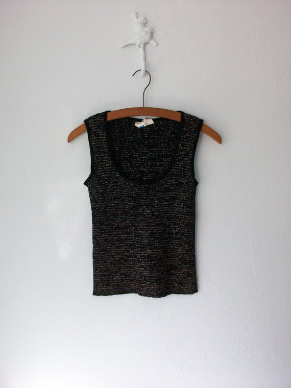 70s Glitter Tank Top // Vintage Metallic Knit Shell // Scoop Neck // Small - Medium