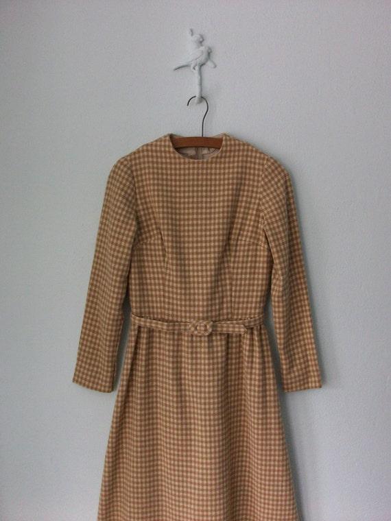1960's Wool Dress ... Vintage 60's Belted Gingham Secretary A-line Midi ... Small / Medium