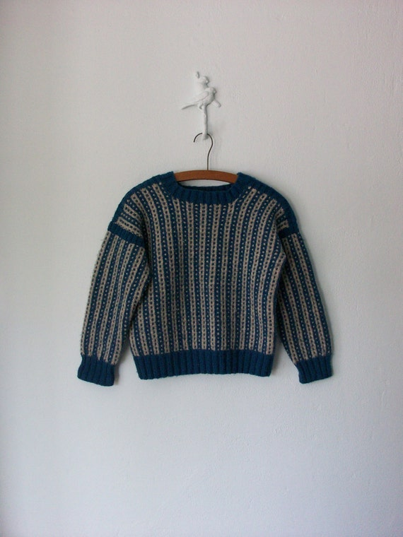 Vintage Chunky Sweater ... Handmade Blue Oatmeal 1960's Pullover ... Small / Medium