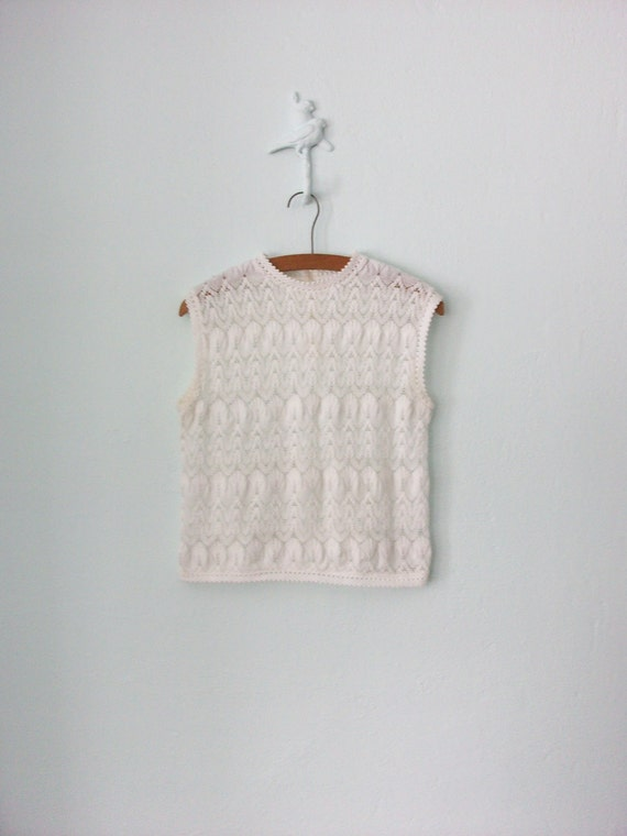 RESERVED ... 1960's Lace Top ... White Sparkle Knit Shell Shirt ... Small / Medium
