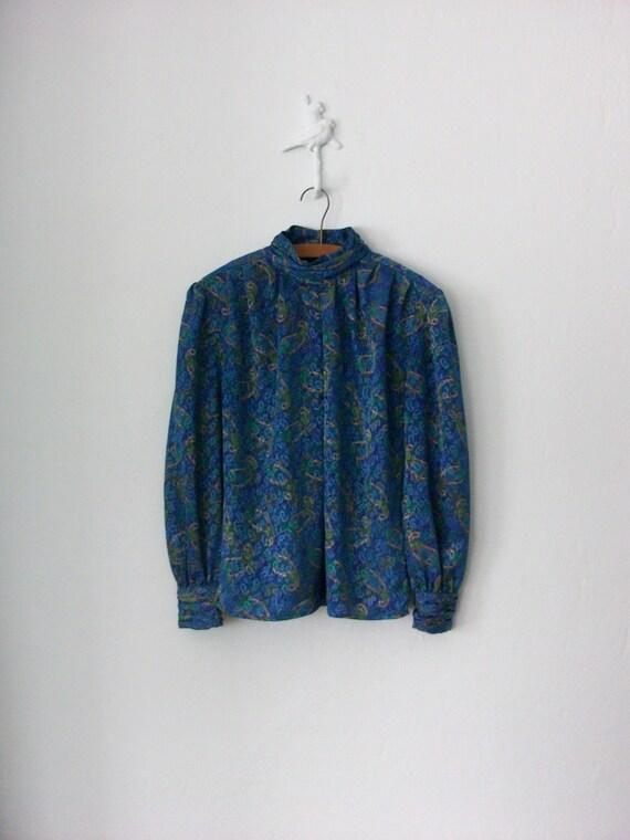Vintage Secretary Blouse ... 80's Shirt Silky Cerulean Blue Paisley Print Top ... Medium