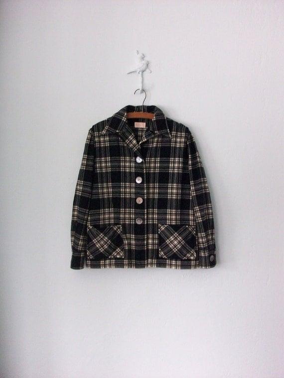 1950's Pendleton Jacket ... Black White Plaid Blazer ... Medium / Large