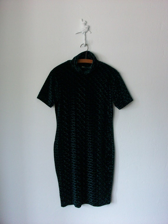 90's Mini Dress ... Tight Green Velvet Spandex ... Small / Medium