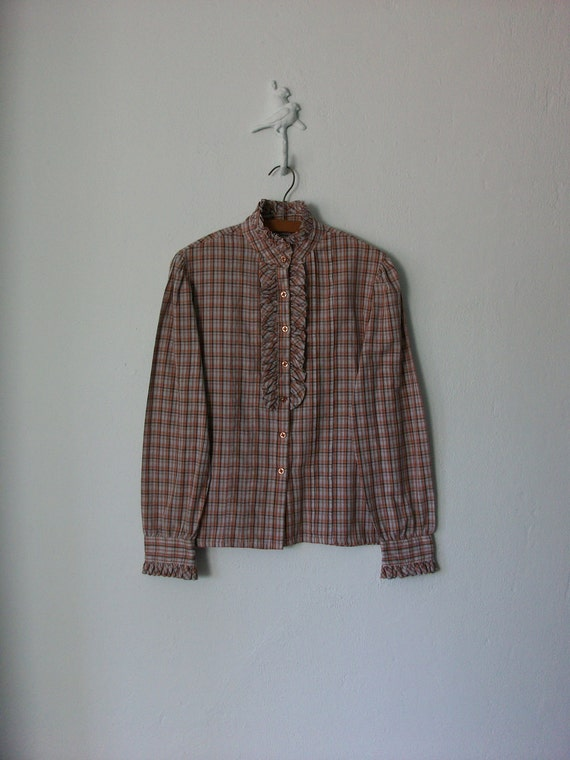 Plaid Blouse // Ruffle Blouse // Vintage 80s Button-up Shirt // Medium - Large