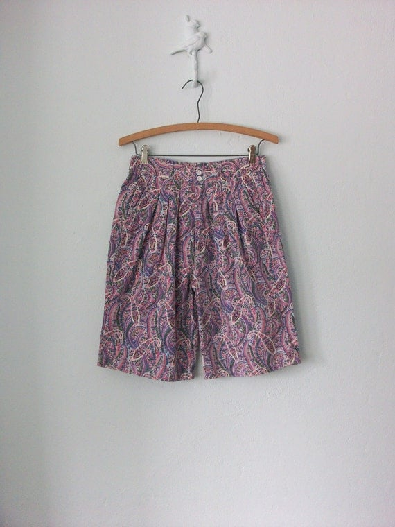 Pastel Paisley Shorts ... 1980's High Waist Floral ... Medium / Large