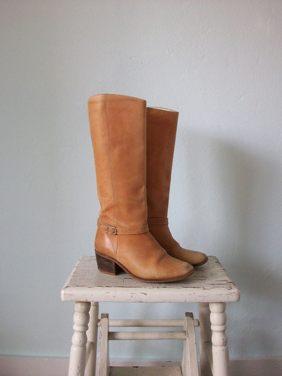 Vintage Riding Boots ... 1970's Tall Blonde Leather ... size 6 M