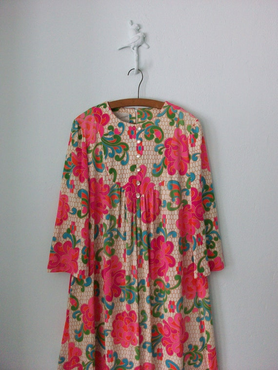 Maxi Tent Dress ... Psychedelic Floral Neon Pink ... Medium / Large