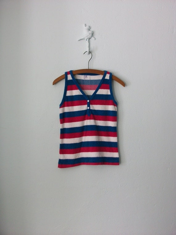 Striped Tank Top ... Vintage 80's Terry Cloth Henley ... Small