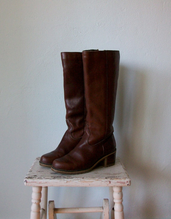 Vintage Burgundy Boots ... Winter Fleece Tall Leather Riding ... size 8