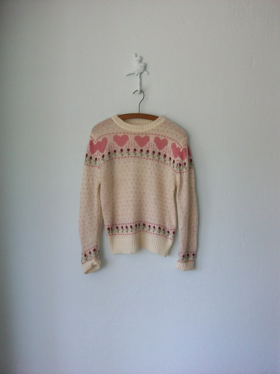 Hearts & Flowers Sweater ... 1970's Sweetheart Novelty Pullover ... Medium / Large