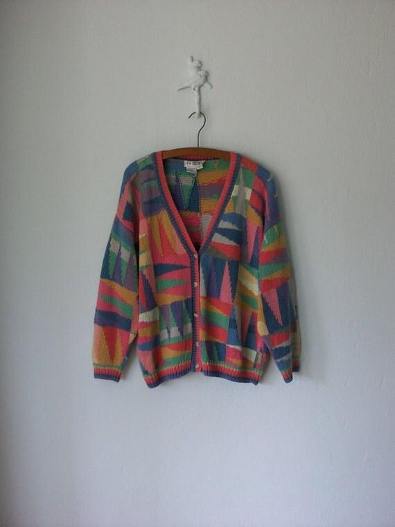Geometric Cardigan Sweater ... Pastel Pattern Cardy ... Medium / Large
