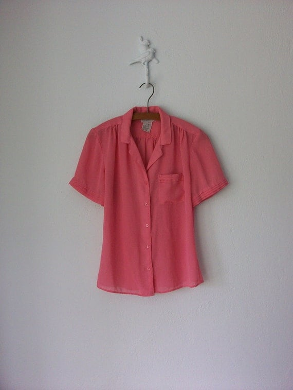 Pink Blouse // Sheer Blouse // Vintage 80s Blouse // Feminine Shirt // Medium
