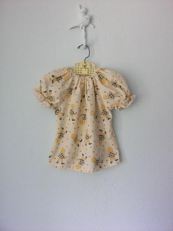 Vintage Peasant Blouse ... 1970's Girls Doll Print Top ... 4T