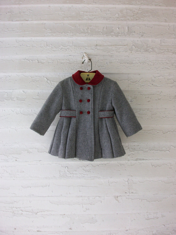 Vintage Toddler Coat Classic 1960 S Wool Velvet
