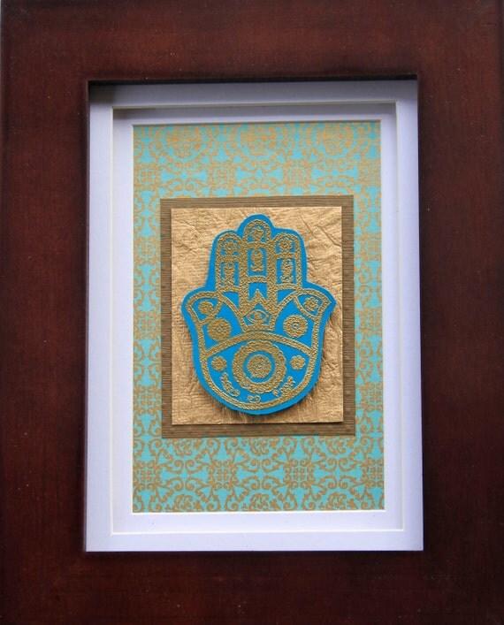 Embossed Aqua & Gold Hamsa Art (Framed)