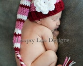Baby Girl, Crochet Hat, Stocking Hat w/ Flower, Newborn Photo Prop, Elf Hat, Infant Christmas hat  -Sizes NEWBORN TO 12 MONTHS -more colors