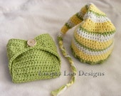 Crochet Stocking Hat and Plain Diaper Cover Set, diaper cover, elf hat, Striped hat, boys hat, -Sizes NEWBORN TO 12 MONTHS -more colors