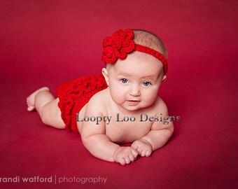 Newborn Photo Prop, Crochet Headband & Crochet Diaper Cover, Ruffles, Christmas, Baby Girl -Sizes NEWBORN To 12 MONTHS -more color options