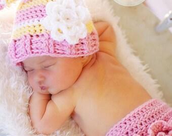 Newborn Photo Prop, Stocking Hat w/ Flower & Ruffle Diaper Cover, Crochet, Handmade, Pink, Yellow - NEWBORN To 12 MONTHS- more colors