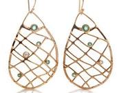 Emerald Net Earrings