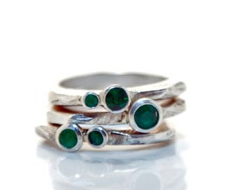 MADE TO ORDER Set of Emerald Stackables