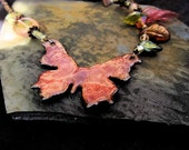 Glowing Pink Butterfly:  Enameled Copper & Glass Bead Necklace