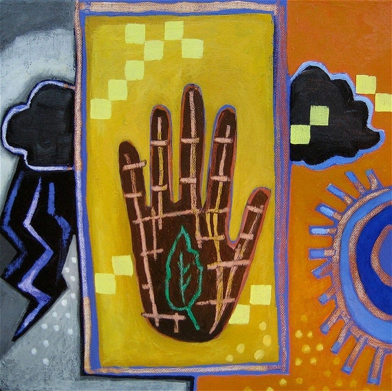 """Painting, """"Hand, Leaf & Thunder Clouds,"""" original acrylic  on gallery wrapped canvas"""