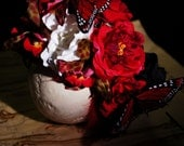 Dia De Los Muertos Headband - red and white silk roses, leopard orchids and red and black feathers