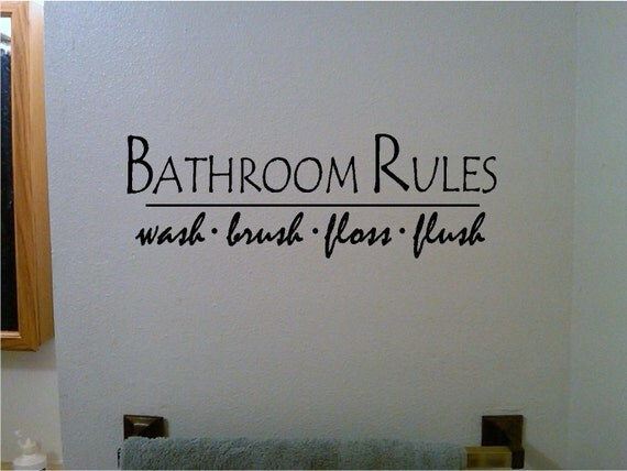 Bathroom Rules Wall Decor : Items similar to bathroom rules vinyl wall decal sticker