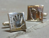 Personalized Handprint Keepsake Cufflinks - Gifts For New Dads - Handprint Jewelry - Fathers Day Cufflinks - Personalized Baby Keepsake