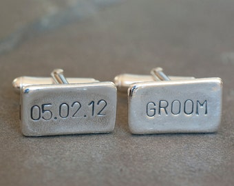 Personalized Wedding Date and Groom Cufflinks, Cufflinks for the Groom, Gift for the Groom from the Bride, Brides Gift to the Groom