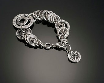 Circles within Circles Silver Bracelet