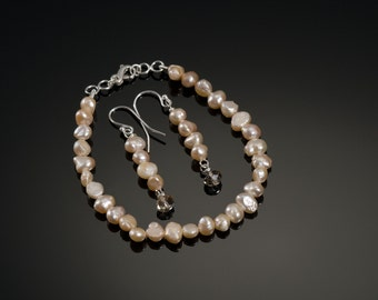 Peach Pearl Wedding Day Bracelet and Earrings