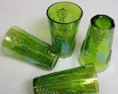 Set of 4 Lime Green Indiana Glass Tumblers