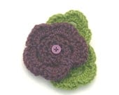 Crochet Flower Brooch in Purple and Green with Button Accent