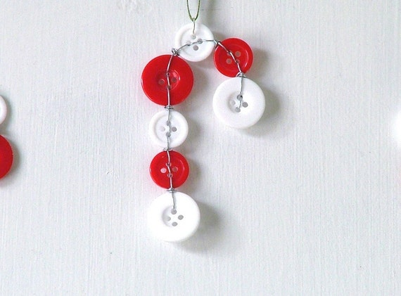 Candy Cane Christmas Tree Ornament from buttons and wire