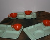 3 Vintage Green Lunch Trays, 4 Vintage Orange Tea, coffee cups